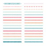Hand Drawn Vector Line Border Set And Scribble Royalty Free Stock Photos