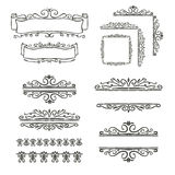 Hand drawn vector line border set Royalty Free Stock Image