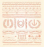 Hand-drawn vector line border set, design element Stock Photos
