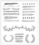 Hand-drawn vector line border set, design element Stock Photo