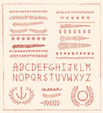 Hand-drawn vector line border set, design element Stock Photography