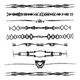 Hand drawn vector line border set. And design element Royalty Free Stock Photography