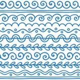 Hand drawn vector line border set and scribble design element. stock illustration