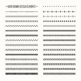 Hand drawn vector line border set and scribble Royalty Free Stock Image
