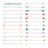 Hand drawn vector line border set and scribble Royalty Free Stock Images