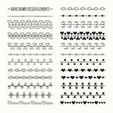Hand drawn vector line border set and scribble Royalty Free Stock Photo