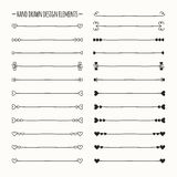 Hand drawn vector line border set and scribble Stock Photos