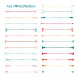 Hand drawn vector line border set and scribble Stock Photography