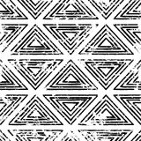 Hand drawn vector line triangle ornament grunge seamless pattern Royalty Free Stock Image