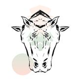 Hand drawn vector lined abstract ink graphic horses mirror heads print isolated on white background.Minimalistic style Royalty Free Stock Photography