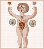 Hand drawn vector lined illustration of nude woman, mother love Royalty Free Stock Photography