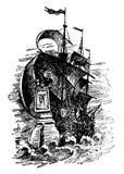 Hand drawn vector logo of vintage sailing ship in the sea vector illustration