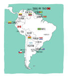 Hand drawn vector map of South America with flags. stock illustration