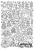 Hand drawn vector maps. Print for camping and outdoor activities in contour. Ink Camping and National Park. Happy maps hand drawn vector illustration Royalty Free Stock Image