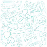 Hand Drawn Vector Medical Background Royalty Free Stock Photos