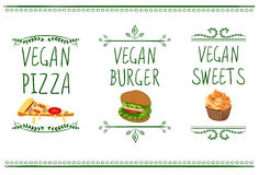Hand drawn VECTOR menu icons: vegan pizza, burger and sweets. Template of doodle frames and letters royalty free illustration