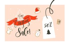 Hand drawn vector Merry Christmas shopping time cartoon graphic simple greeting illustration header design red ribbon. Gingerbread cookies boxes and calligraphy Stock Photography