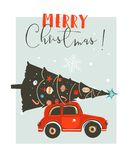 Hand drawn vector Merry Christmas time cartoon graphic illustration card design template with red car,xmas tree and. Modern typography Merry Christmas  on white Stock Image