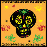 Hand drawn vector, mexican skul Stock Photography