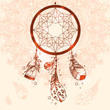 Hand drawn vector Native American Indian talisman dreamcatcher w. Ith bird's feathers.Mandala background, henna natural colors. Ethnic design, boho chic, tribal Royalty Free Stock Photography
