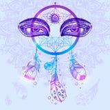 Hand drawn vector Native American Indian talisman dreamcatcher w Stock Photo