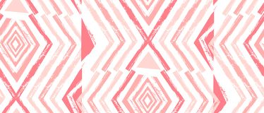 Hand drawn vector Navajo seamless pattern.Aztec abstract geometric print in pastel colors isolated on white background Royalty Free Stock Photo