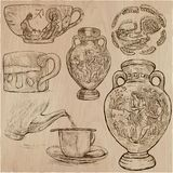 Ceramics - an hand drawn vector pack, freehand sketchiing Stock Image