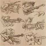 An hand drawn collection, vector pack - GUITAR SOLO. An hand drawn vector pack of GUITAR SOLOS. Line art. Pack of hands of guitarist. Guitar players play a solo royalty free illustration
