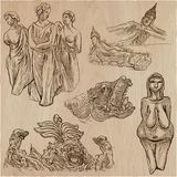 Old and native art, artworks - an hand drawn vector pack, freeha Royalty Free Stock Photography