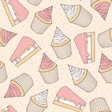 Hand drawn vector pastry seamless pattern with cake pieces and c. Upcakes covered with pink strawberry topping. Ornament on the dotted background Stock Photos