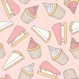 Hand drawn vector pastry seamless pattern with cake and tart pie. Ces and cupcakes covered with pink Stock Photos