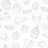 Hand drawn vector pastry seamless pattern with cakes, pies. Muffins and eclairs covered with topping. Sweet bakery products contours in sketchy style on the Stock Photos
