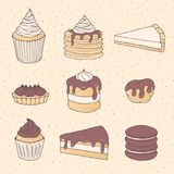 Hand drawn vector pastry set with cake and pie pieces, cupcakes,. Macarons and eclairs covered with Royalty Free Stock Photos