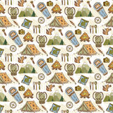 Hand drawn vector pattern with camping travel elements. Summer camp seamless background. Travel doodle vector pattern Royalty Free Stock Images