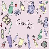 Vector seamless pattern with elements of cosmetics vector illustration