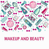 Hand drawn Vector pattern of Make-Up, beauty and healthy cosmet Royalty Free Stock Photography