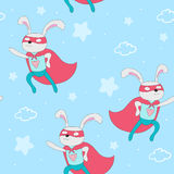 Hand drawn vector pattern with superhero rabbit animal vector illustration.  Stock Images