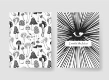 Hand drawn vector patterns brochures. Actual artistic design with mushrooms. Set of templates cards. Hand drawn vector patterns brochures. Actual artistic design Stock Image