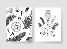 Hand drawn vector patterns brochures. Actual artistic design with mushrooms Stock Photography