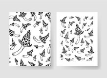 Hand drawn vector patterns brochures. Actual artistic design with mushrooms Royalty Free Stock Images