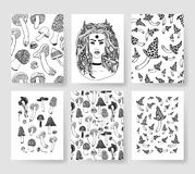 Hand drawn vector patterns brochures. Actual artistic design with mushrooms Royalty Free Stock Photos