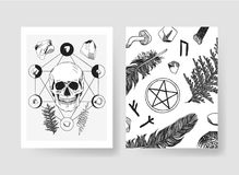 Hand drawn vector patterns brochures. Actual artistic design with mushrooms Royalty Free Stock Photo
