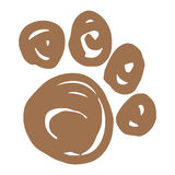 Hand Drawn Vector Paw Print Royalty Free Stock Photography