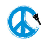 Hand-drawn vector peace sign, antiwar symbol from 60s made with Royalty Free Stock Photo