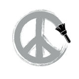 Hand-drawn vector peace sign, antiwar symbol from 60s made with. Brushstrokes. Hippie theme art icon created with paintbrush Royalty Free Illustration