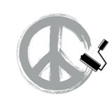 Hand-drawn vector peace sign, antiwar symbol from 60s made with Stock Image