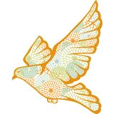 Hand drawn vector pigeon made of flower pattern Stock Image
