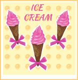 Hand drawn VECTOR pink ice cream in waffle cone with bows on light yellow background. Hand drawn VECTOR pink ice cream in waffle cone with bows on light yellow Royalty Free Stock Photo