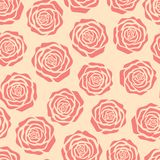 Hand drawn vector pink roses silhouettes seamless pattern on the beige background Stock Image