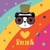 Cute panda in funky hat and glasses. Hand drawn vector portrait of a cute funny cartoon panda in funky hat and glasses, with typography.  objects. Vector Royalty Free Stock Photography